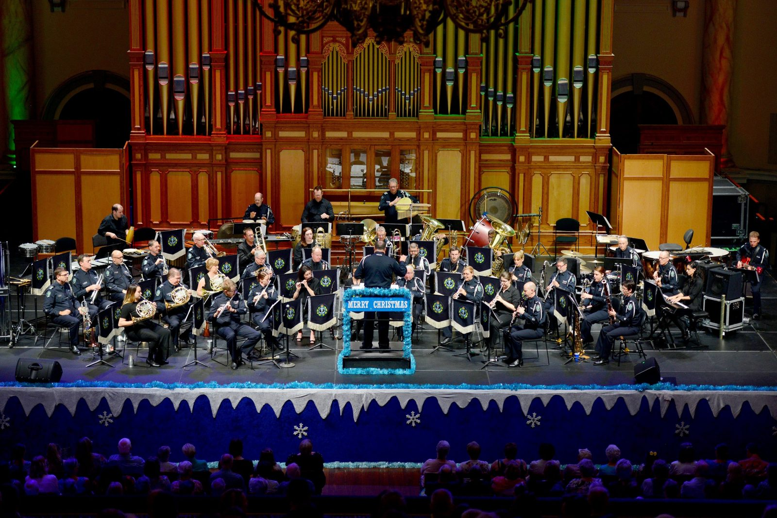 Police Band on stage at the Adelaide Town Hall