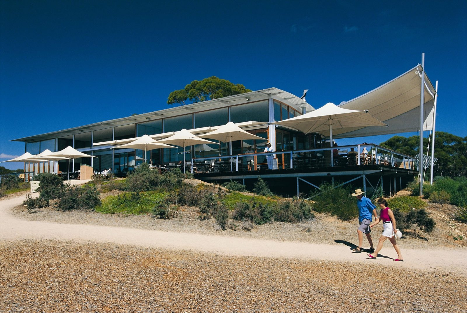 View of the visitor centre from the walking trail