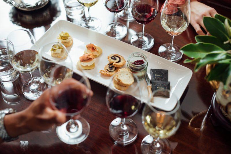Food & wine pairing flight at cellar door