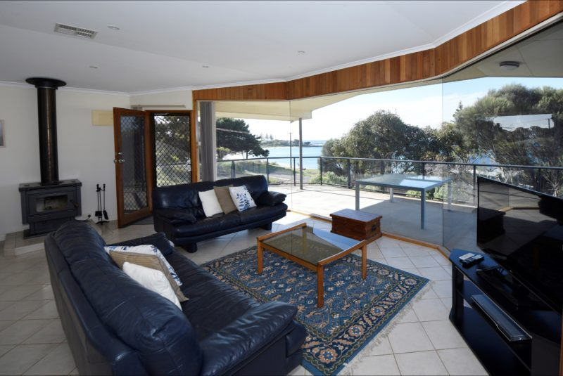 Living area and deck with views