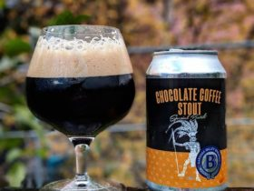 Our Chocolate Coffee Stout, one of our beers on tap.