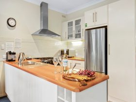 Fully equipped kitchen on Moving Waters with wide oven, dishwasher, full size fridge &coffee machine