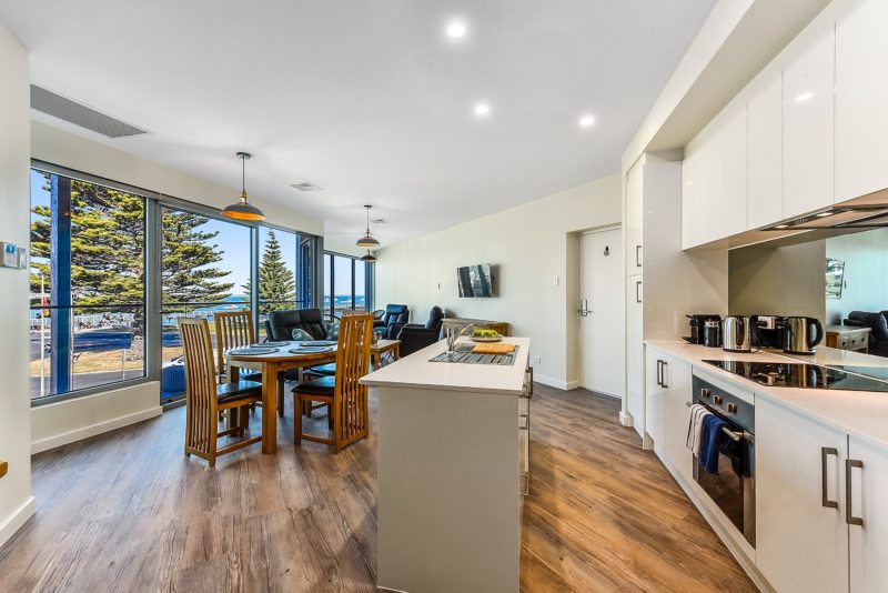 """View of kitchen and living room of """"Ringwood"""" Apartment 4"""