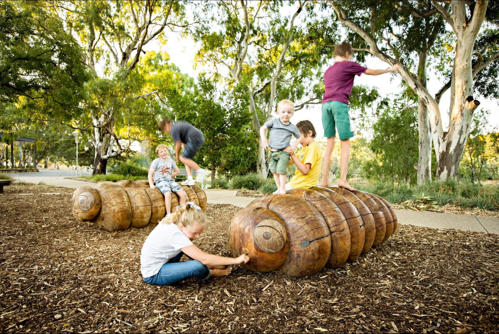 playground, children, wooden sculptures, playing