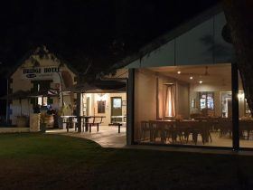 Front of the hotel at night Bridge Hotel | Langhorne Creek