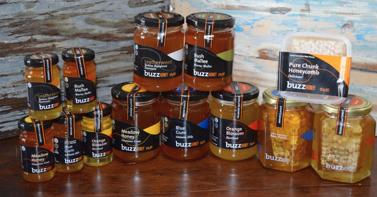 A range of Buzz Honey products