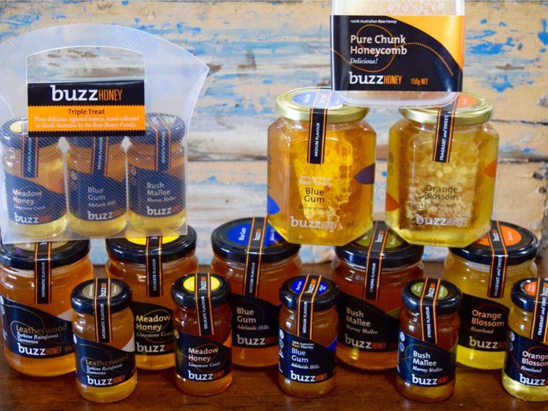 A range of Buzz Honey honey products