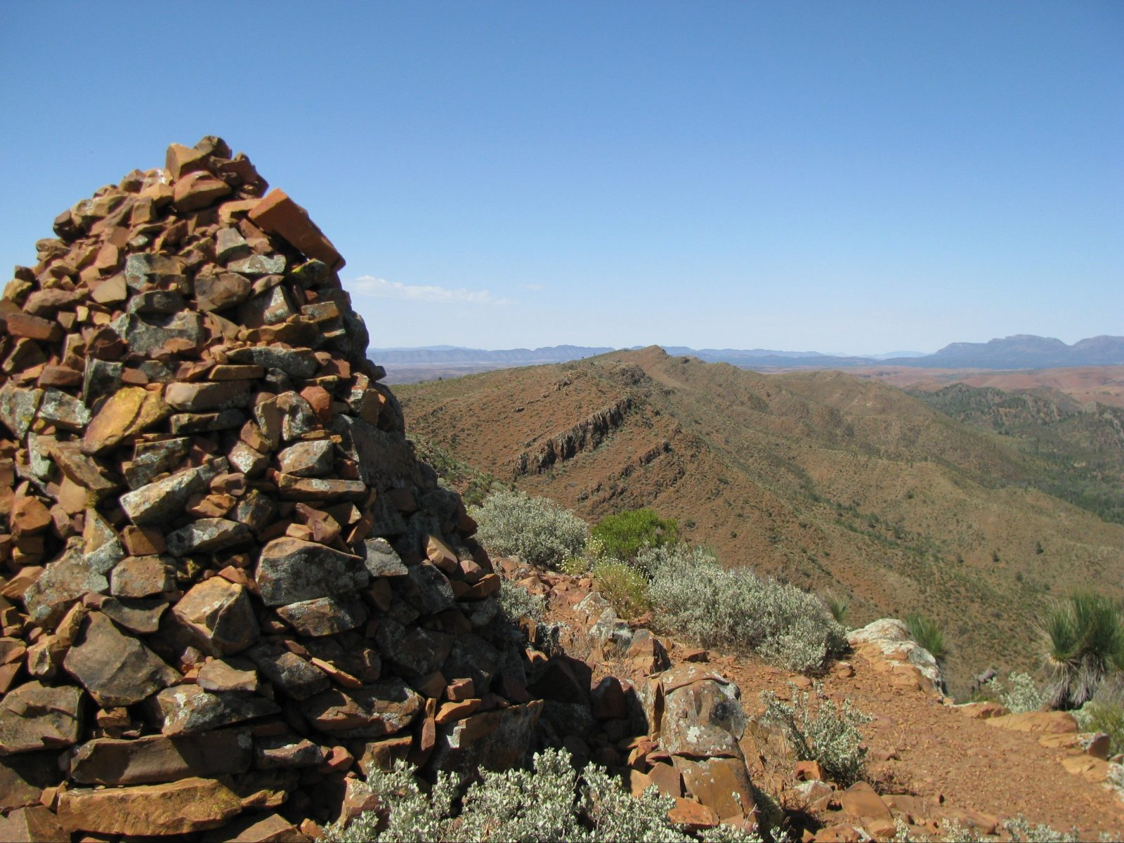 View of the historic rock cairn at the summit with breathtaking 360 degree views