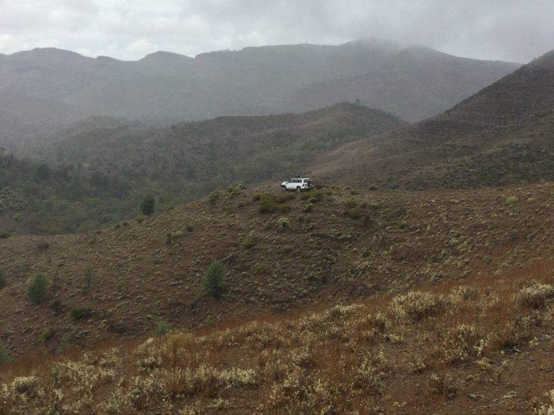 View of vehicle descending off Mt Caernarvon summit