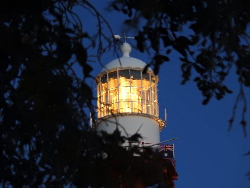 Lighthouse light shining brightly