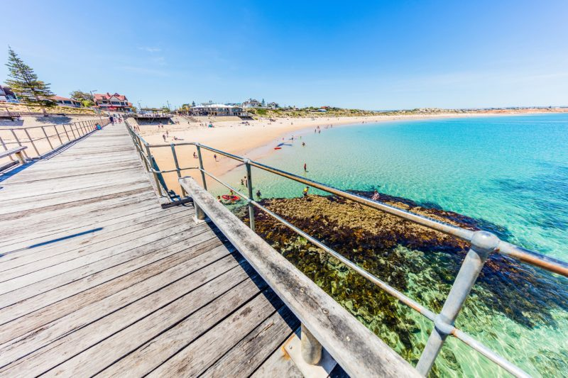 Local Port Noarlunga beach perfect for swimming and snorkeling at the reef