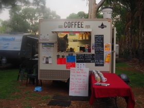 Coffee Cubicle open for business with Mug Library to encourage recycling.