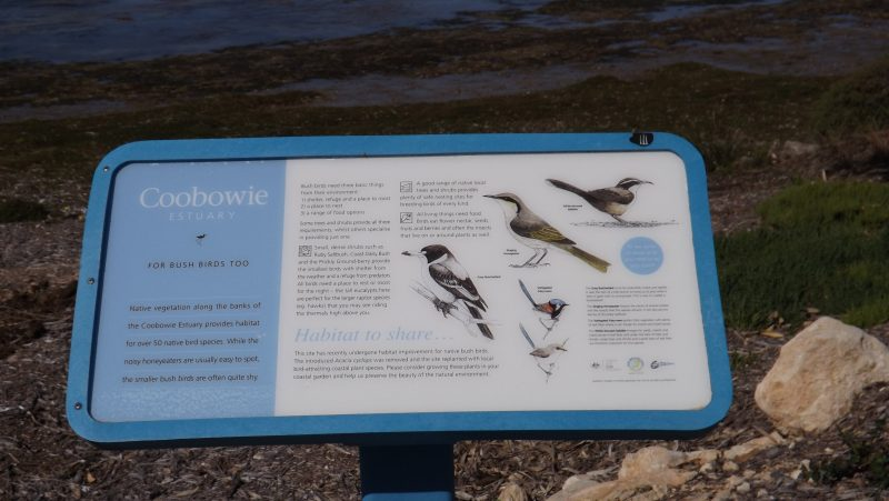 one of the many relevant signs depicting the loac bird life.
