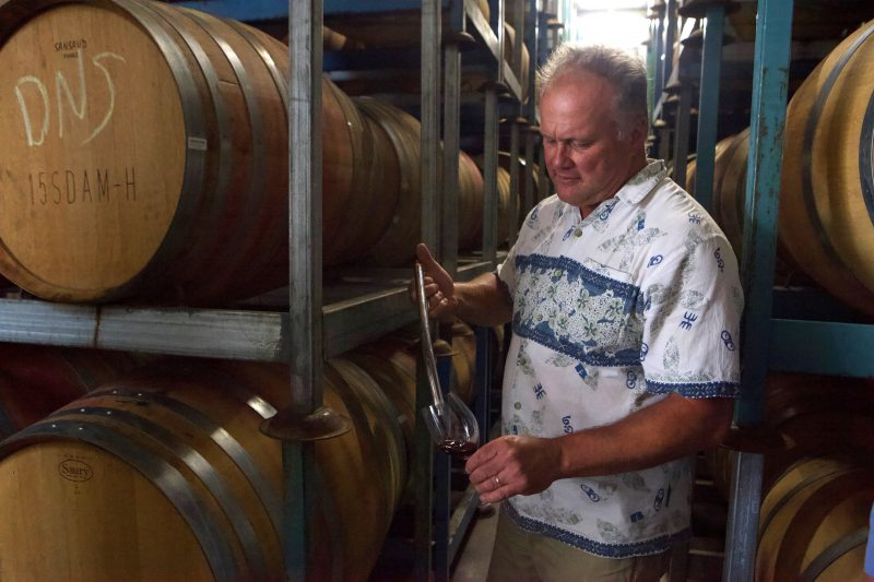 Tasting from the barrel at Brands Laira