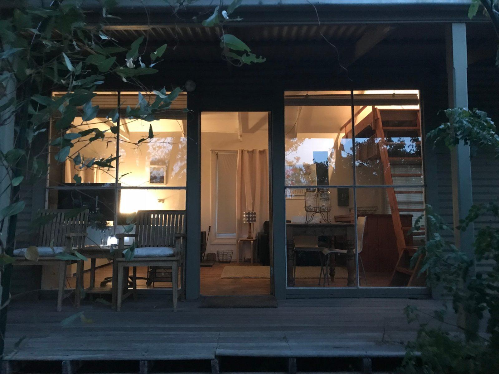 Cottage porch at dusk