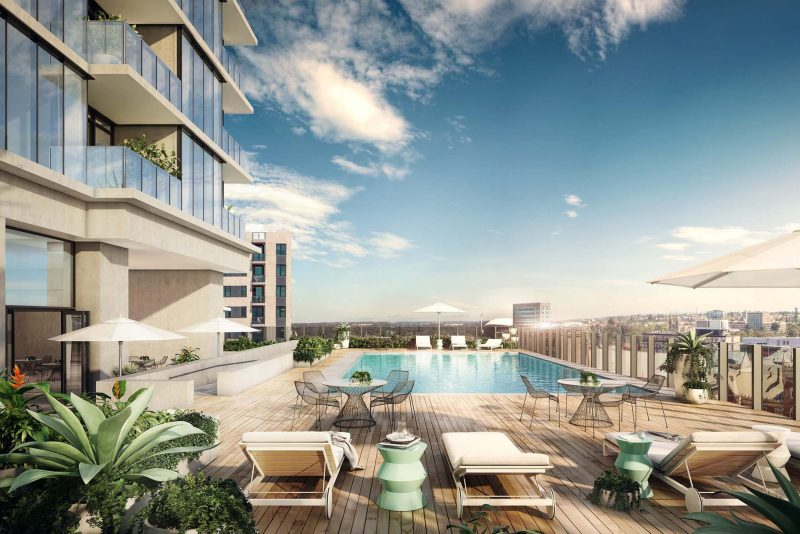 Heated infinity pool with bar and panoramic views of Adelaide's city and beyond