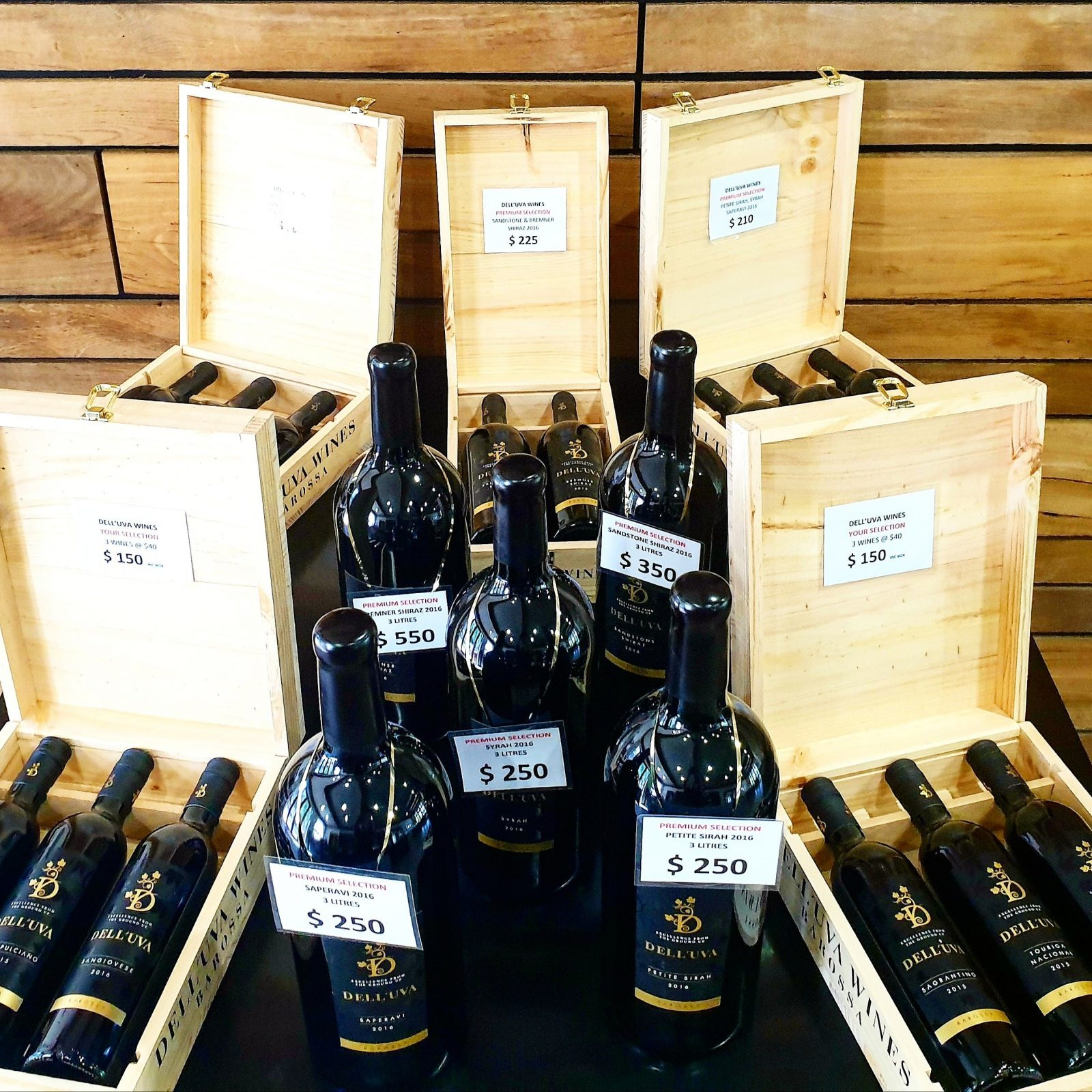 Magnums of Saperavi, Petite Sirah, Sandstone Shiraz, Bremner Shiraz and our wooden display boxes