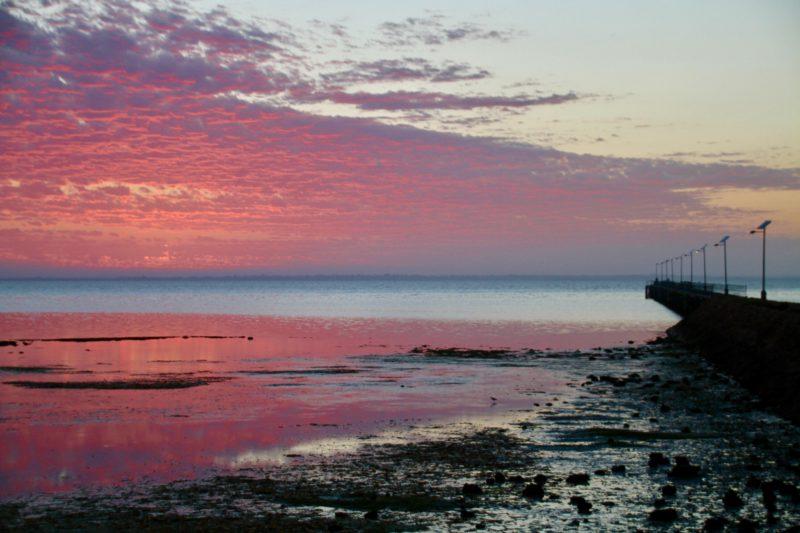 Denial Bay Jetty from beach at sunrise