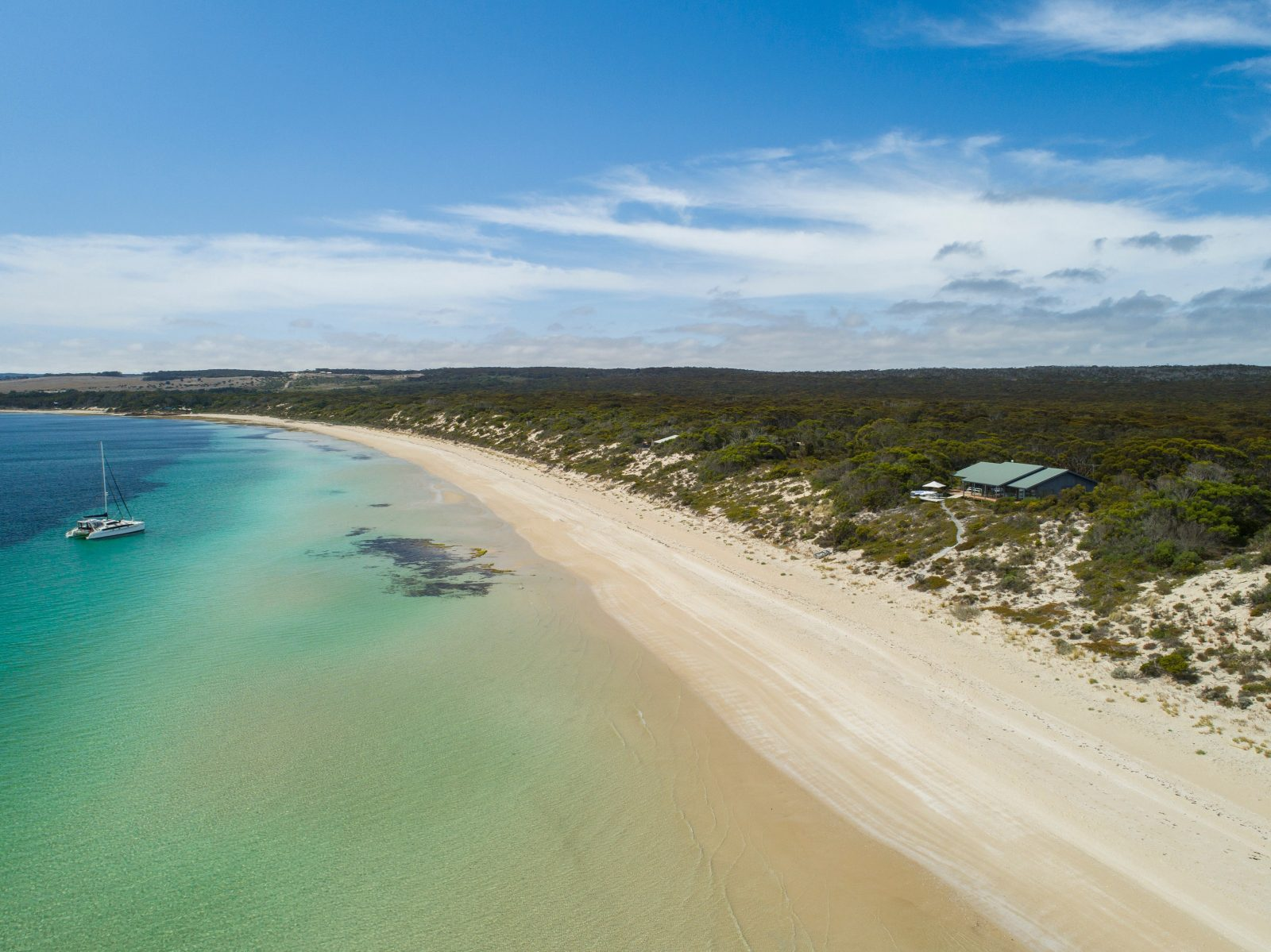 Dine Walcowrie aerial photograph from beach to bushland