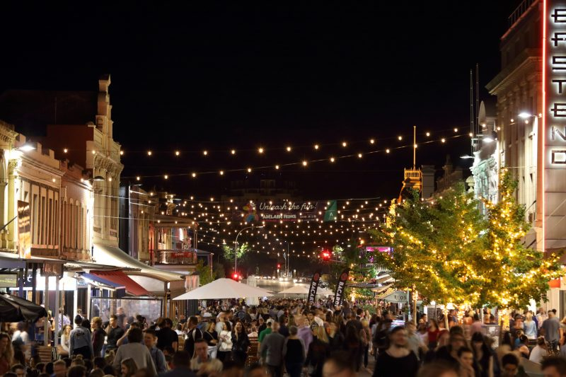 Rundle Street with festoon lighting and large crowd