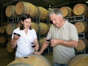 Doug and Emma Bowen wine