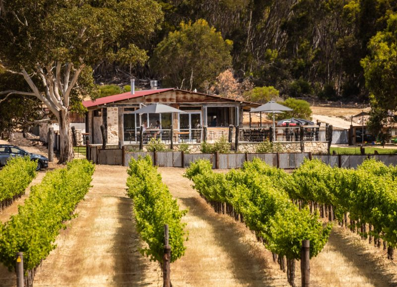 Cellar door overlooking the vineyards.