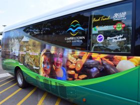 The bus for the Flavours of Campbellotwn Food Trail bus tour