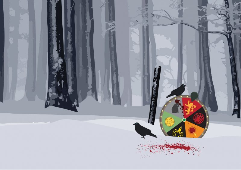 In a snowy field, ravens sit on a Gameshow of Thrones wheel depicting the different houses.