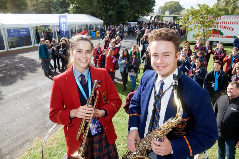 Students perform on stage during the Generations in Jazz Festival
