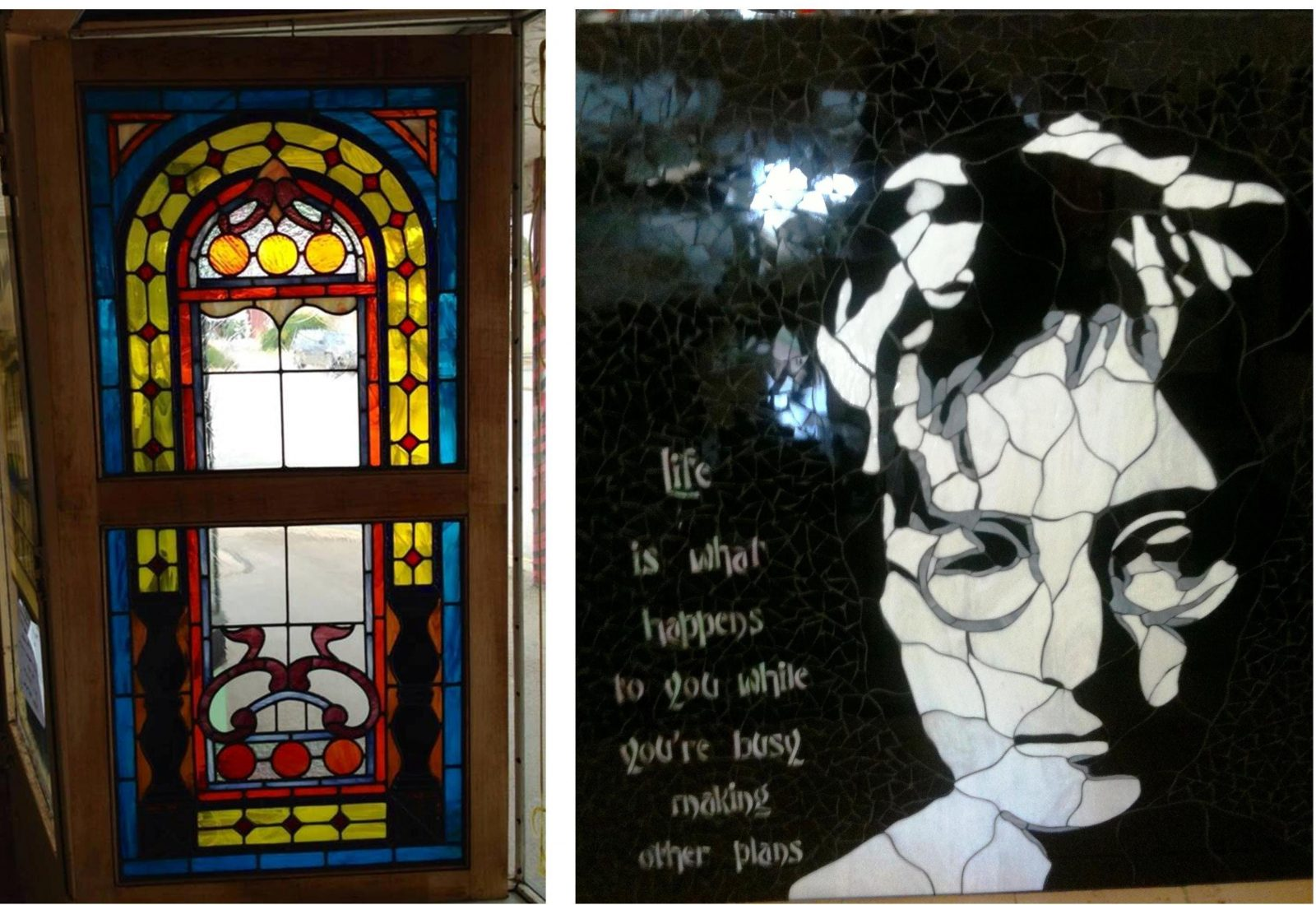 Victorian Fancy Leadlight Window and John Lennon silhouette mosaic with words