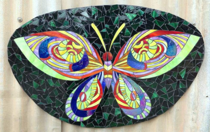 Flutterby Mosaic, art nouveau butterfly with green background