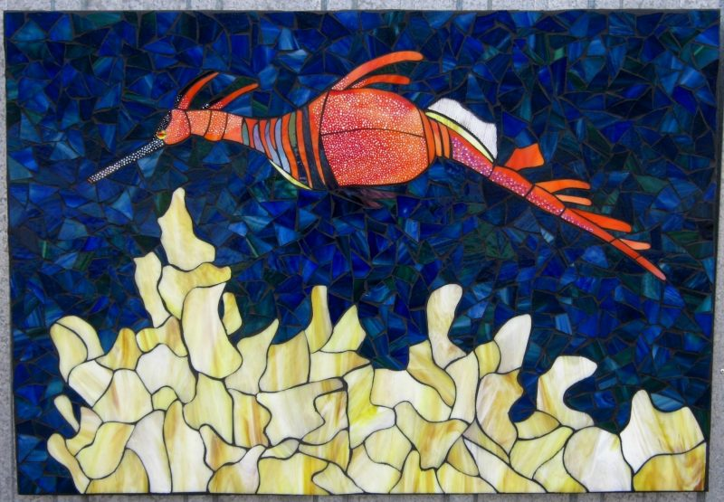 Papa's Treasure mosaic, leafy sea dragon with coral
