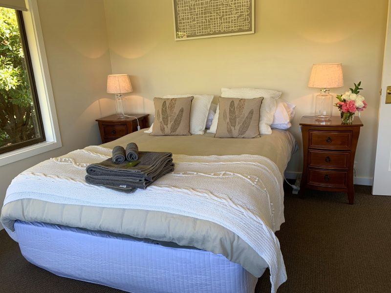 The Queen size bedroom overlooks beautiful Handorf with won private balcony