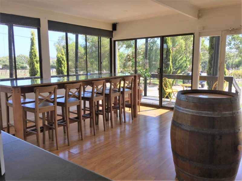 Light and spacious tasting room with stunning views.