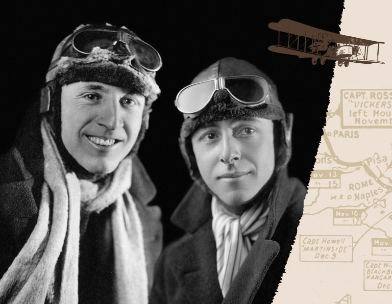 Black & white photo of Keith & Ross Smith in flying gear. Also image of a plane & map outline.