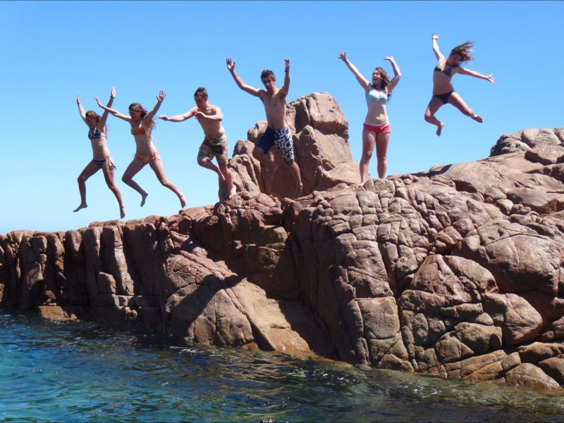 saria's friends at the rock pool