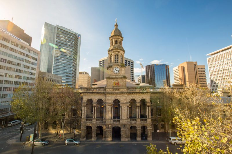 Street view of the Adelaide Town Hall