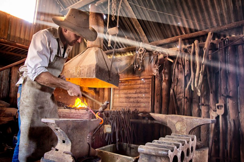 Lucky tour guests will find a fire in the forge and hear the hammer ringing on the anvil.