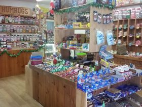 The interior of Humbugs of Hahndorf showing the many varieties of sweets and chocolates in store.