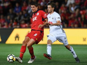 Adelaide United's George Blackwood on the ball against the 'Nix.
