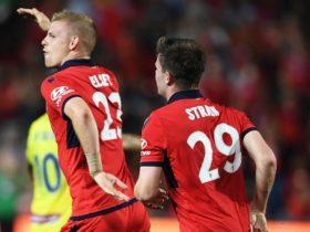 Jordan Elsey halves the deficit for Adelaide United against Central Coast.