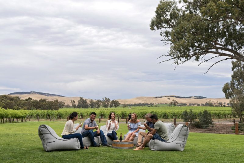 Jacob's Creek on the lawn area overlooking the rolling Barossa Ranges