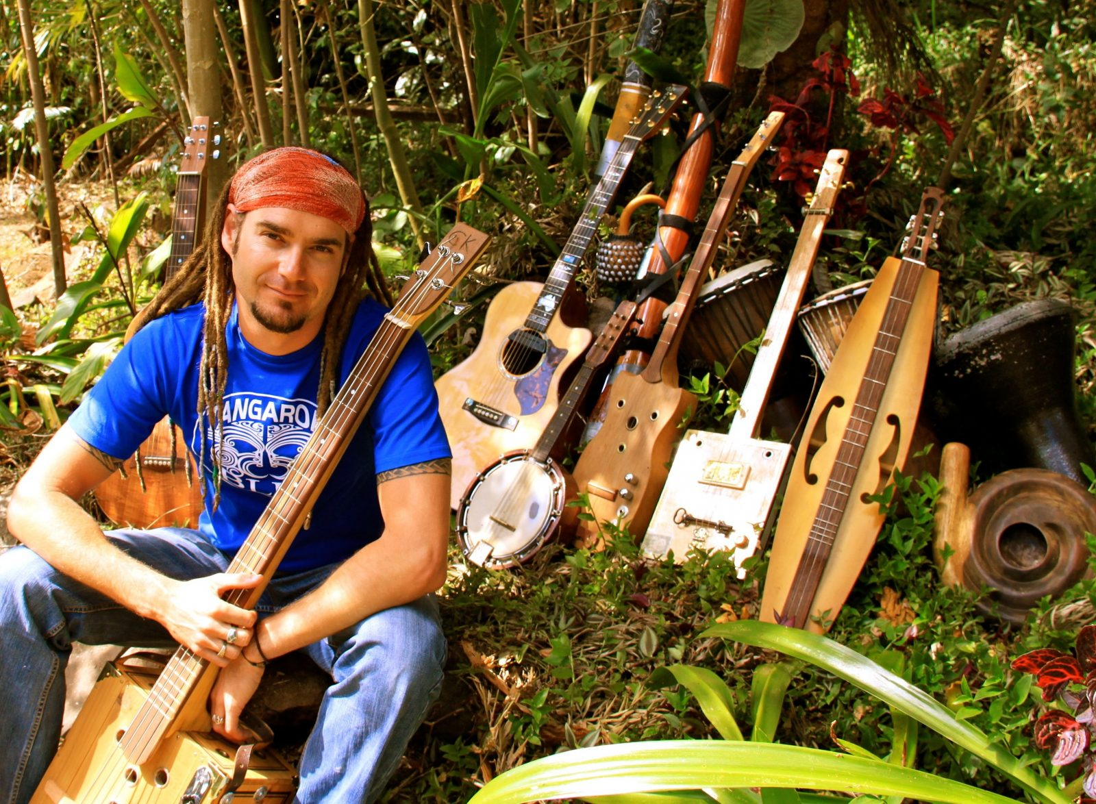 Jay Hoad with many of his unique instruments