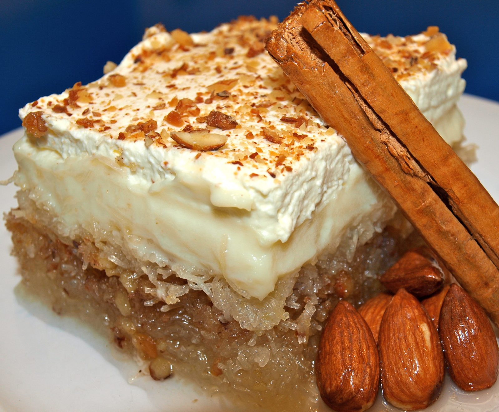 roasted kataifi with almonds, syrup then covered with a traditional custard and fresh cream