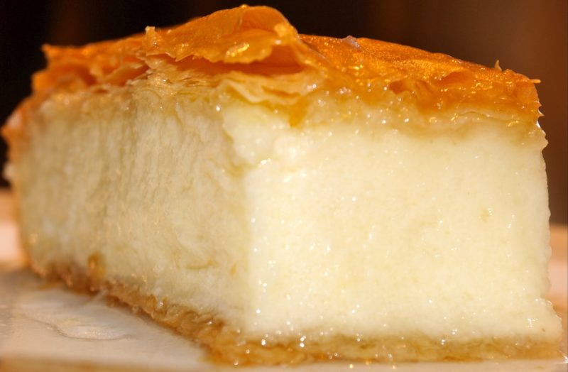 traditional Greek custard baked in golden filo pastry