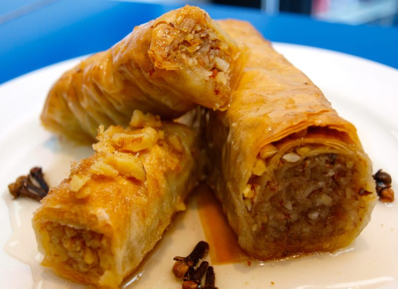 traditional baklava in rolled form