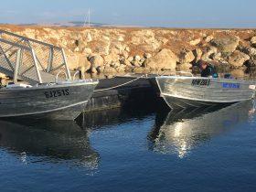 Tinnies waiting at Bay of Shoals Boat Ramp, KINGSCOTE
