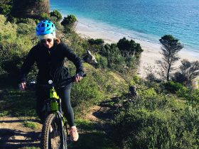 woman on e-bike riding in bushland on the coast with sand and ocean in the background.