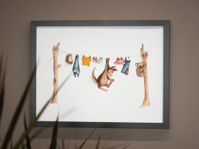 Australian nursery print - vintage tones. Print of watercolour artwork.