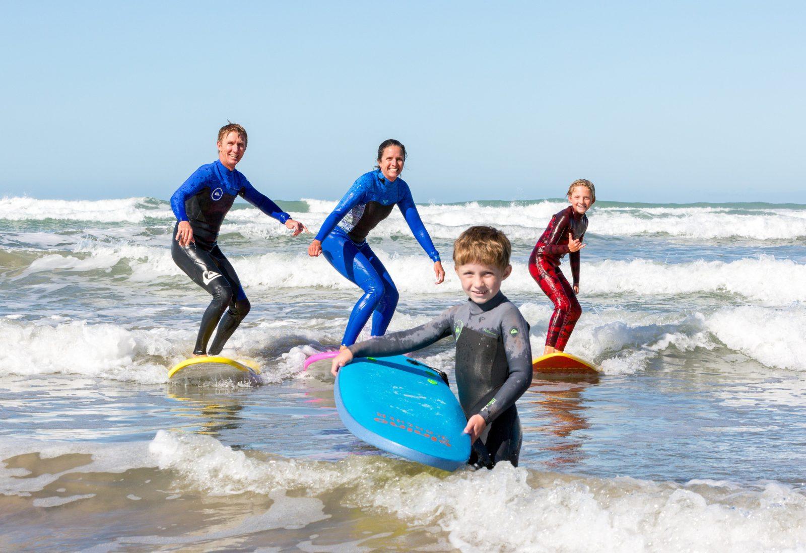 Family surf photo, Dan & Meg